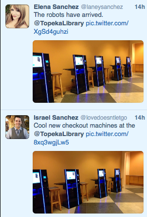 Twitter Screenshot of library customers sharing photos of the Bibliotheca self-check machines