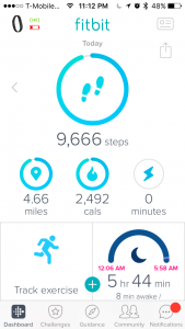 screenshot of my Fitbit App